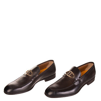 DOUCAL'S LEATHER LOAFERS Size 45 UK 11 Metal Embellishment