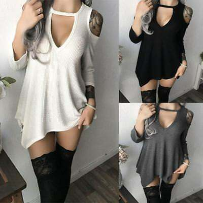 Sexy Women Long Sleeve Off The Shoulder Dress Casual Evening Party Mini Dress B