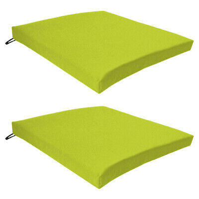 Lime 2 Pack Seat Chair Cushion Outdoor Garden Tie On Waterproof Pad Zip Cover
