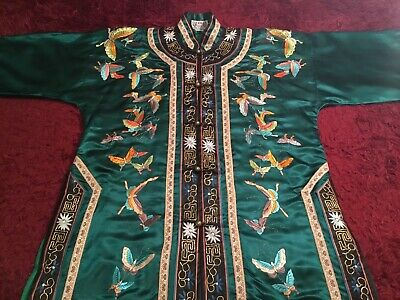 Beautiful Vintage Chinese Emerald Silk Embroidered Robe Jacket Embroidery!
