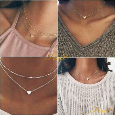 Silver Gold Plated 1 or Double Layer Beaded Chain Choker Necklace Heart Pendant