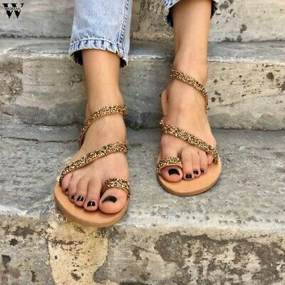 Female Gladiator Sandals Cross-linked Flip Low Heels Summer Stylish Shoes 6A