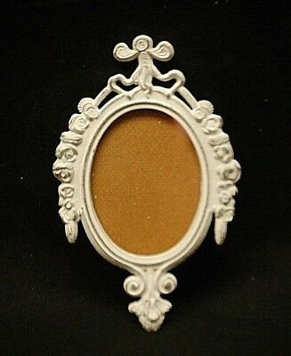 Vintage White Fleur De Lis Ornate Metal Oval Picture Frame Wall Hanging Italy