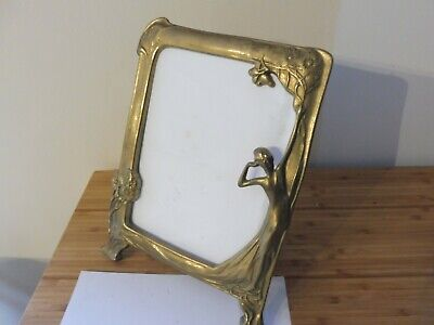 Found Vintage Ornate Art Nouveau  Lady Design Brass Picture Frame