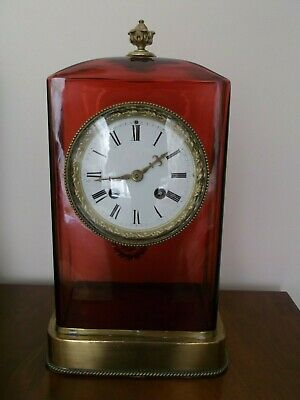 Superb Antique Tiffany Cranberry Glass 8 Day Striking Clock