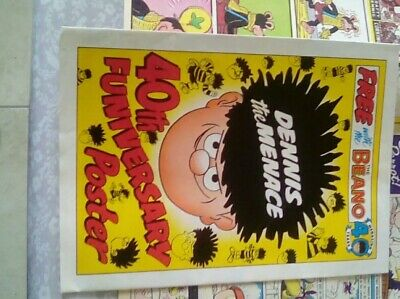 BEANO COMIC + DENNIS 40th POSTER 16th March 1991.