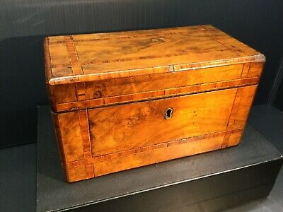 FIGURED WALNUT WITH KINGWOOD INLAY TEA CADDY COMPLETE WITH TWO INNER LIDS c1850