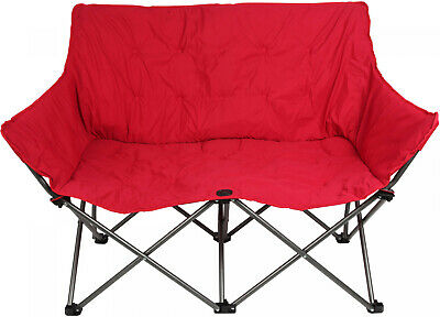 Ozark Trail Quad-Folding Padded Love Seat Chair With Cup Holder, Red