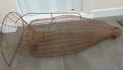 ANTIQUE FRENCH EARLY 1900s METAL WIRE FISHING EEL TRAP CAGE