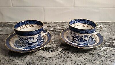 Booths Real Old Willow Pattern 2 Lot Demitasse Cup +Saucer
