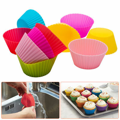 12 Silicone Round Mini Cup Cake Muffin Cupcake Tart Cases Baking Moulds Pan