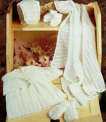 Knitting Pattern-Baby Layette 3 sizes 0-12m Blanket/Coat/Hat/Booties/Mitts P0367