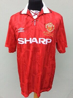 Manchester United Home Shirt,1992-1994,large..prem League Champions Embossed