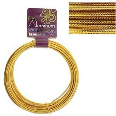 Aluminum Wire Fancy Embossed Gold 12 Gauge 43033 39ft Round Shiny