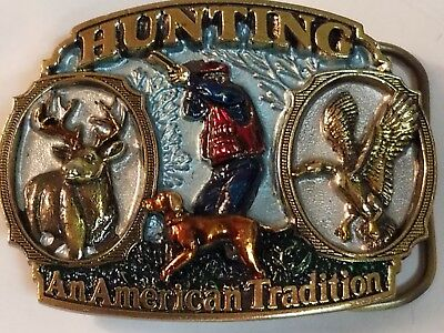 "Hunting An American Tradition Belt Buckle 1986 *Made in the USA* (3"" x 2 3/16"")"
