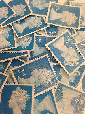 100 x 2nd CLASS STAMPS BLUE SECURITY UNFRANKED OFF PAPER NO GUM.
