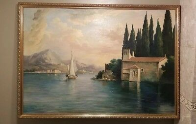 Antique Original Oil Painting On Board Signed - 41 X 29