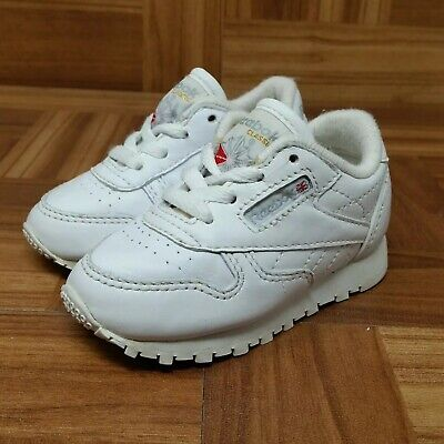 92792a2c5ee REEBOK CLASSIC LEATHER (Toddler Size 4) Casual Sneaker Shoes White ...