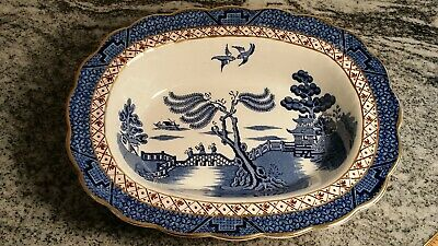 "Booths Real Old Willow Pattern OVAL SERVING BOWL 10""x8"" A8025 England"