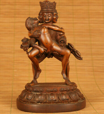 rare big chinese old boxwood wood hand carved buddhas statue collectable