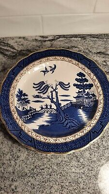 "Booths Real Old Willow Pattern LARGE ROUND SERVING DISH 11.5"" A8025 England"