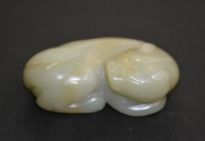 """Finely Chinese Qing Dy Old Nephrite Jade Carved Strange Animal """"Ba Jian"""" L 6.2CM"""