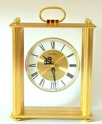 Seiko Quartz Brass Carriage Mantle Clock – Model # QQZ103G NICE