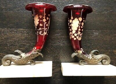 Pr Antique Victorian Red Glass Hand Painted Cornucopia Bronze Mount Marble Bases