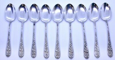"""Lot Set of 9 Stieff Corsage 925 Sterling Silver 5-1/2"""" Five 5 O'Clock Teaspoons"""