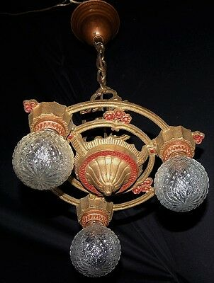 Antique Deco Cast Iron Hanging Chandelier Ceiling Fixture