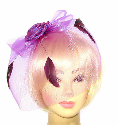 Lilac  fascinator hat with veil  feather headband, Weddings, Races, Ladies Day