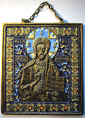 "RUSSIAN ORTHODOX ICON ""JESUS CHRIST"", handmade, copper alloy, enamel."