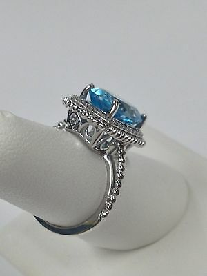Natural Blue Topaz with Natural Diamond Cluster Ring 925 Sterling Silver