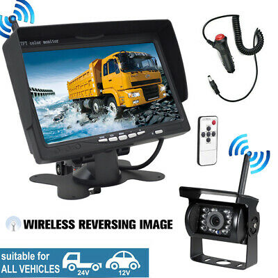 """7"""" LCD Monitor 4CH Wireless IR Front/Rear View Backup Cameras For Truck Bus RV"""