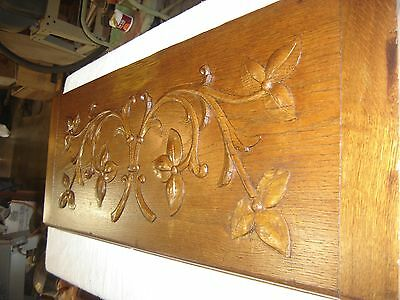 "Antique Oak Salvage Pediment with Applied Carving  37 1/2"" wide X 13"" tall 9491"