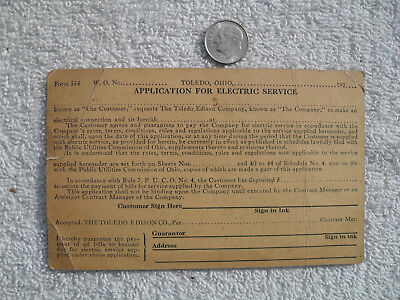 VINTAGE 1920'S THE TOLEDO EDISON COMPANY Ohio App for Electrical Service  Card