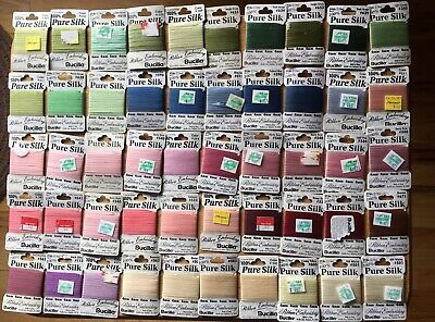 Lot of 50 Bucilla 100% Pure Silk Embroidery Ribbon - Assorted Colors, 4mm, 1-7mm