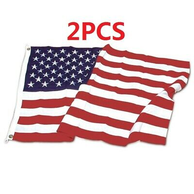 2PCS - 3x5 Ft US American Nylon Deluxe Embroidered Stars Sewn Stripes USA Flag