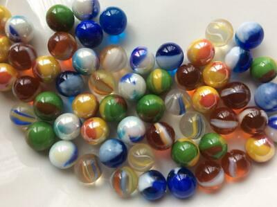 60 MIXED PEEWEE GLASS MARBLES 12mm traditional toy game marble run party bags