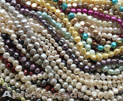 16in. Freshwater Pearl potato beads 5-6mm assorted colors
