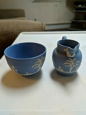 Beautiful Wedgwood Jasperware Pale Blue Sugar Bowl and Small Creamer Pitcher