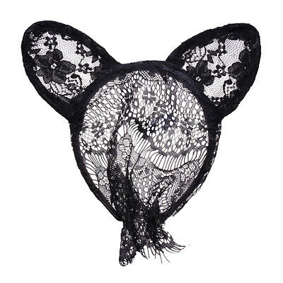 Womens Halloween Party Mask Sexy Lace Veil Cute Rabbit Ear Headpiece Black