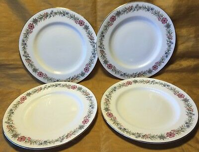 "Set 4 PARAGON English Fine Bone China Belinda 8"" Salad Plate w Gold Rim"