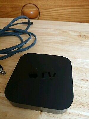 Apple TV 3rd generation Model 1469 with power cord and custom remote
