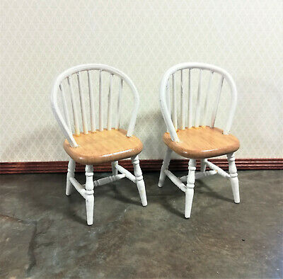 Dollhouse Miniature x2 Windsor Spindle Back Kitchen Chairs Pine & White 1:12