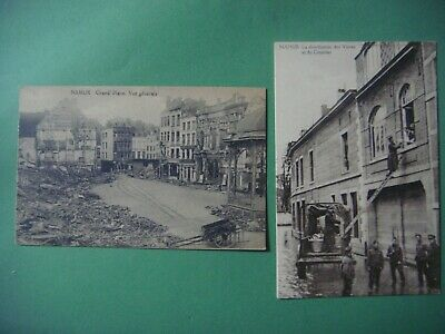 Lot de 2 cartes de NAMUR ( Grand'Place - Distribution vivres courrier - guerre )