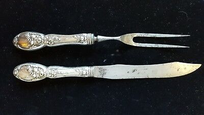 Antique BRIDES BOUQUET by Alvin Silver Plate Carving Set Knife and Fork
