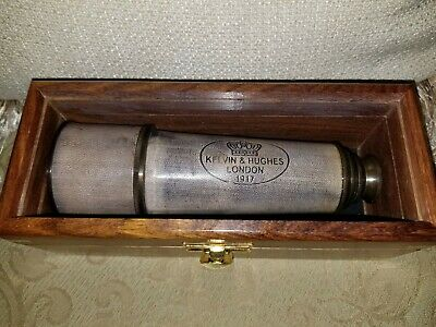 "18"" Kelvin & Hughes London Nautical Brass Leather Telescope With Hardwood Box"