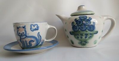 Lovely M A Hadley Country Teapot w/ Blueberry Bouquet Blue Green Cup Saucer Cat
