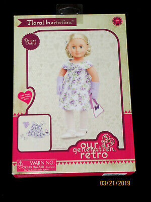 NWT Our Generation DELUXE RETRO FLORAL INVITATION Dress 18 Doll Clothes DRESSY!